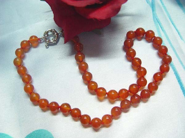 17.5'' 10mm red agate necklace