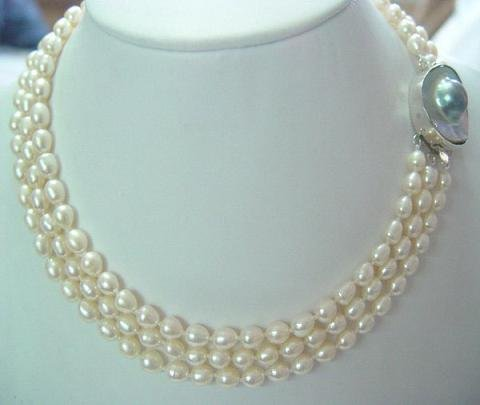 3-row 18-20'' 6x7mm white rice pearl with mabe clasp