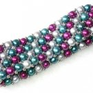 "7.5"""" 4-5mm multicolor pearl bracelet with silver ball"