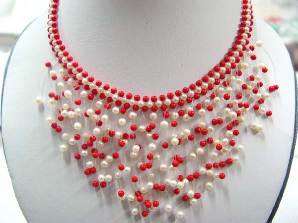 "17"""" beauty 4-5mm white pearl with red coral necklace"
