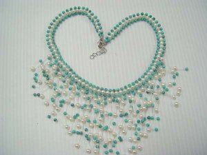 """17"""""""" beauty 4-5mm white pearl  knit with green turquoise necklace"""