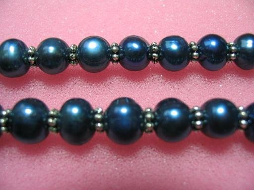 "17.5"""" 7-8mm blue pearl/metal septa necklace"