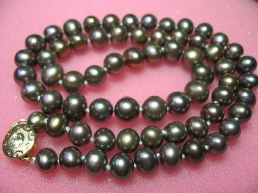 "17.5"""" genuine black F/W pearl necklace"
