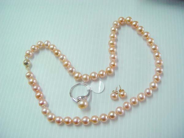 "17.5"""" grade A 7-8mm pink  pearl necklace set"