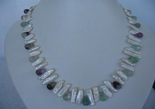 "18"""" exquisite biwa pearl/fluorite necklace"