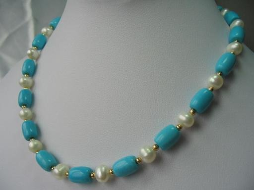 """18"""""""" exquisite pearl/turquoise/gild beads necklace"""