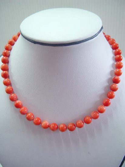 "18"""" stunning 8mm pink coral beads necklace"