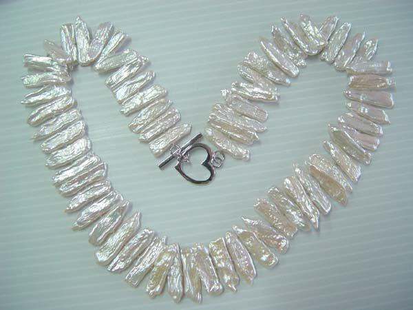 "18"""" white biwa pearl necklace"