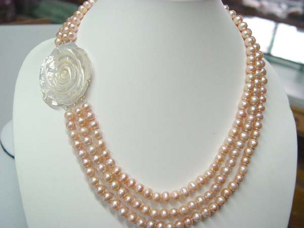 """18""""""""-20"""""""" 3-stands AA pink pearl&rose shell clasp"""