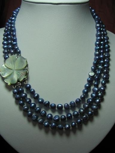 "18""""-20"""" 3-stands blue pearl& flower shell clasp"