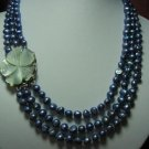 """18""""""""-20"""""""" 3-stands blue pearl& flower shell clasp"""