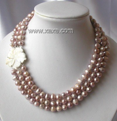 "18""""-20"""" 3-stands Grade A lavender pearl&shell clasp"