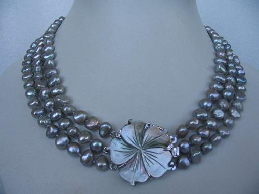 """18""""""""-20"""""""" 3-stands gray pearl& flower shell clasp"""