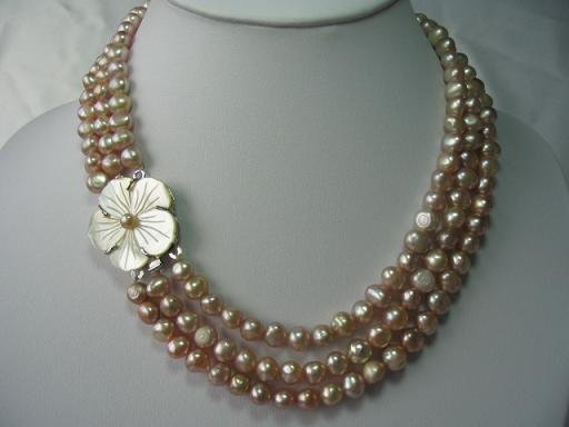 """18""""""""-20"""""""" 3-strands pink pearl& flower shell clasp"""