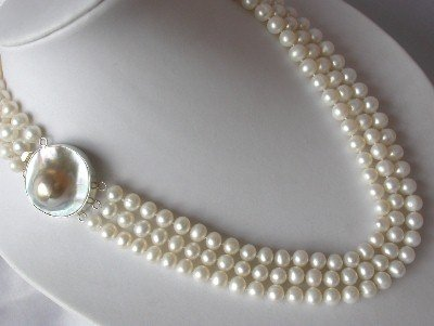 """18""""""""-20"""""""" 3-strands 7-8mm white pearl &mabe clasp"""