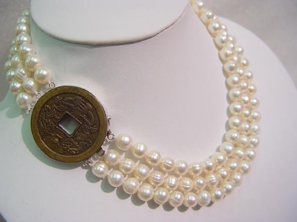 """18""""""""-20"""""""" 3-strands white pearl &coin clasp"""