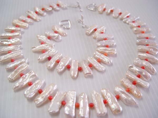 "18""""/7.5'' biwa pearl /coral bead necklace/bracelet set"