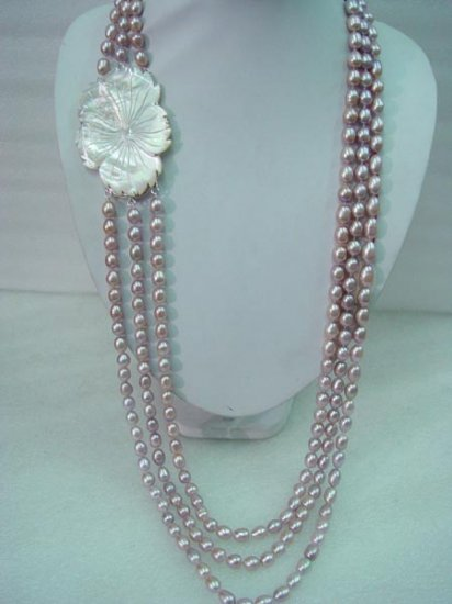 """21''-23"""""""" 3-stands 5x6mm lavender pearl&shell clasp"""