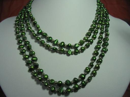 32'' 2-strands green pearl necklace w/ 18kgp ring