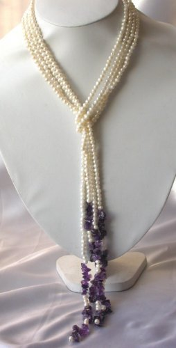 "48""""natural mini pearl with purple crystal necklace"