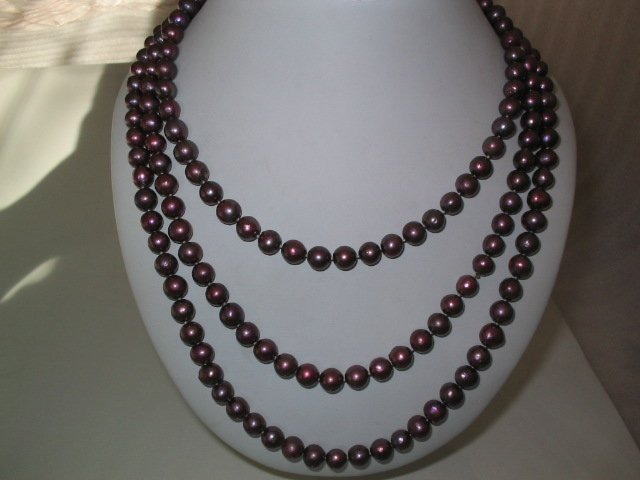 "64"""" 8-9mm wine red pearl necklace"