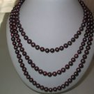 """64"""""""" 8-9mm wine red pearl necklace"""