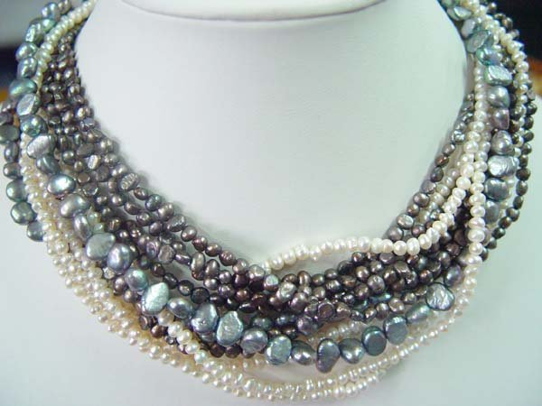 "exquisite 18-20"""" 10 strands multicolor pearl necklace"