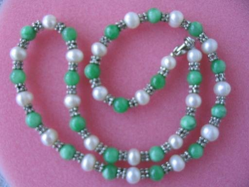 "graceful 17.5"""" white pearl green jade w/septa necklace"