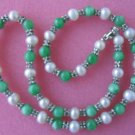 """graceful 17.5"""""""" white pearl green jade w/septa necklace"""