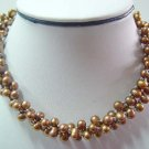 Stunning 18'' yellow pearl /silver plated bead necklace