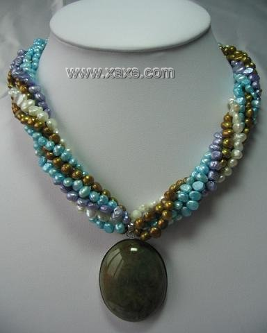 """18"""""""" 6-strand multicolor flat pearl with agate pendant"""