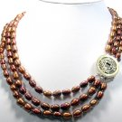 10MM-12MM 3rows Chinese Coffee Cultured Pearl Necklace