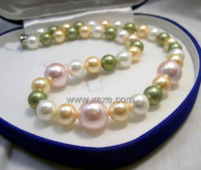 10MM-14MM L.MULTI-COLORS SEA SHELL PEARL NECKLACE 925S