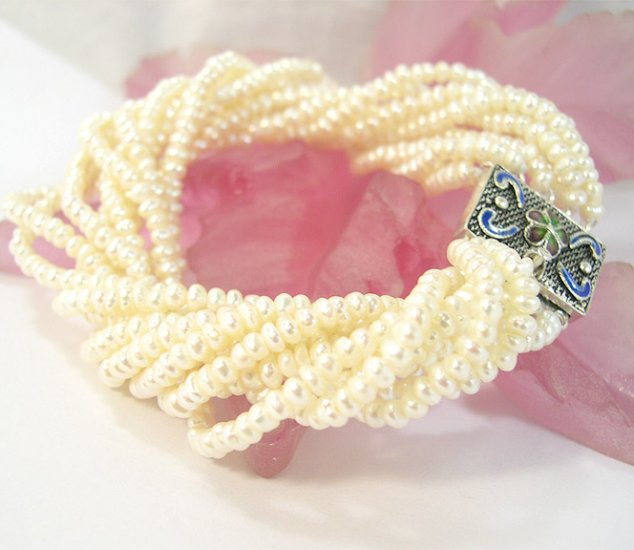 10rows 8'' white cultured Pearl bracelet 925s