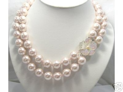 14MM 18-20 pink seashell Pearl Necklace Natural Shell