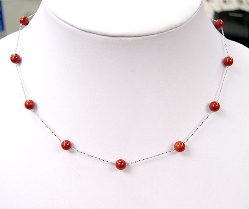 15.5'' 6MM RED CORAL NECKLACE 14KG