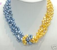 16'' 4ROWS 2-COLOR GENUINE CULTURED PEARL NECKLACE