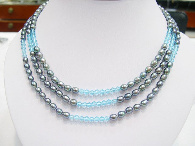 16''-18'' 3row silver Cultured Pearl&crystal Necklace
