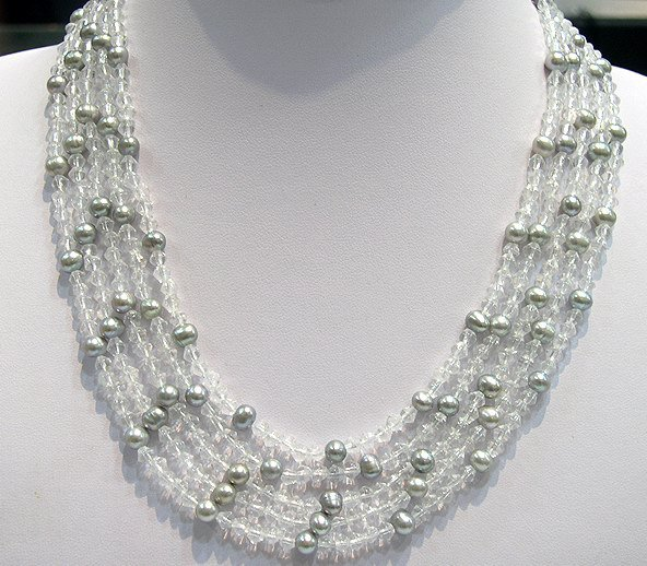 16''-20'' 5row silver-grey Cultured Pearl&crystal Necklace