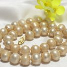 17'' 10mm-11mm champagne freshwater pearl necklace 14KG