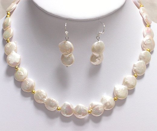 17'' 11mm-20mm CULTURED PEARL NECKLACE & EARRING