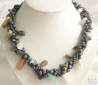 17'' 2-PCS BLACK CULTURED PEARL&CRYSTAL Necklace