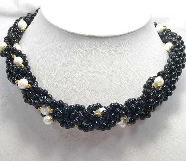 17'' 3-PCS Black Agate & Cultured Pearl Necklace