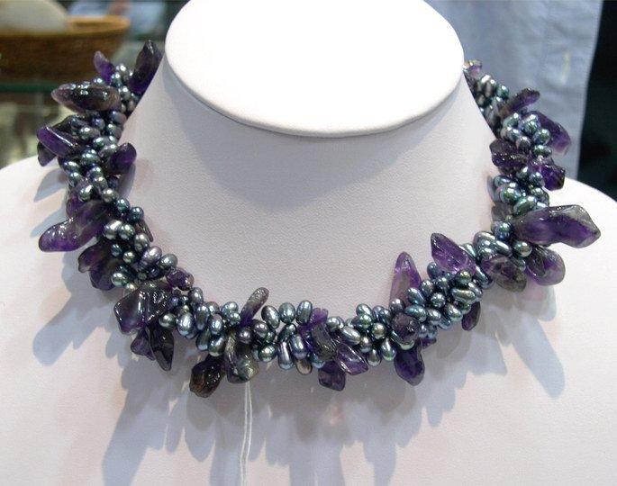 17'' 3row grey Cultured Pearl & Amethyst Necklace