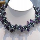 17'' 3row grey Cultured Pearl & Amethyst Necklace