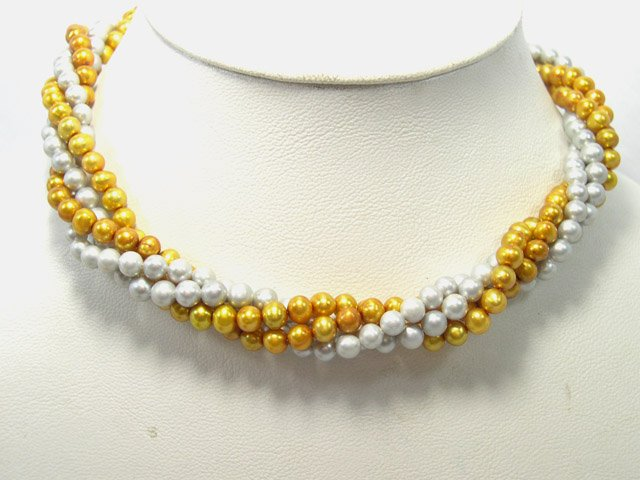 17'' 4rows Silver_champagne Cultured Pearl Necklace