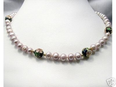 18'' Chinese CLOISONNE Beads BAROQUE Cultured Necklace