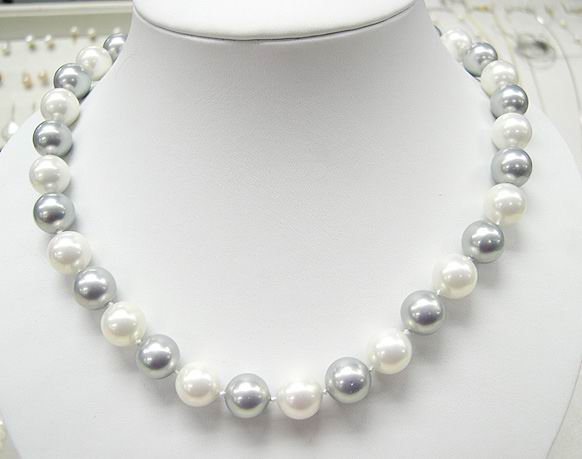 19'' 12MM GREY WHITE SEA SHELL PEARL NECKLACE 925S