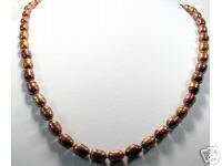 21'' 10MM-12MM Coffee Cultured Pearl Necklace 925s