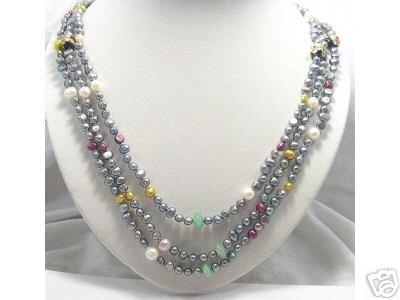 22''-24'' 3rows Silver-grey Cultured Pearl Gems Necklace